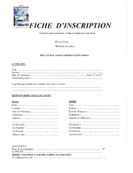 Fiche d'inscription