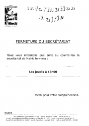 information mairie couvre feu 2020