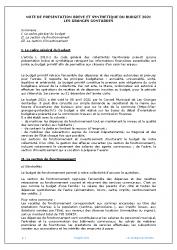 NOTE DE PRESENTATION BREVE ET SYNTHETIQUE DU BUDGET 2021