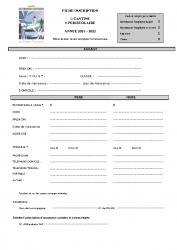 fiche inscription cantine – periscolaire 2021-2022